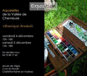 Invitation au Moulin de Vilgris pour une exposition d'aquarelles de Véronique Arnault